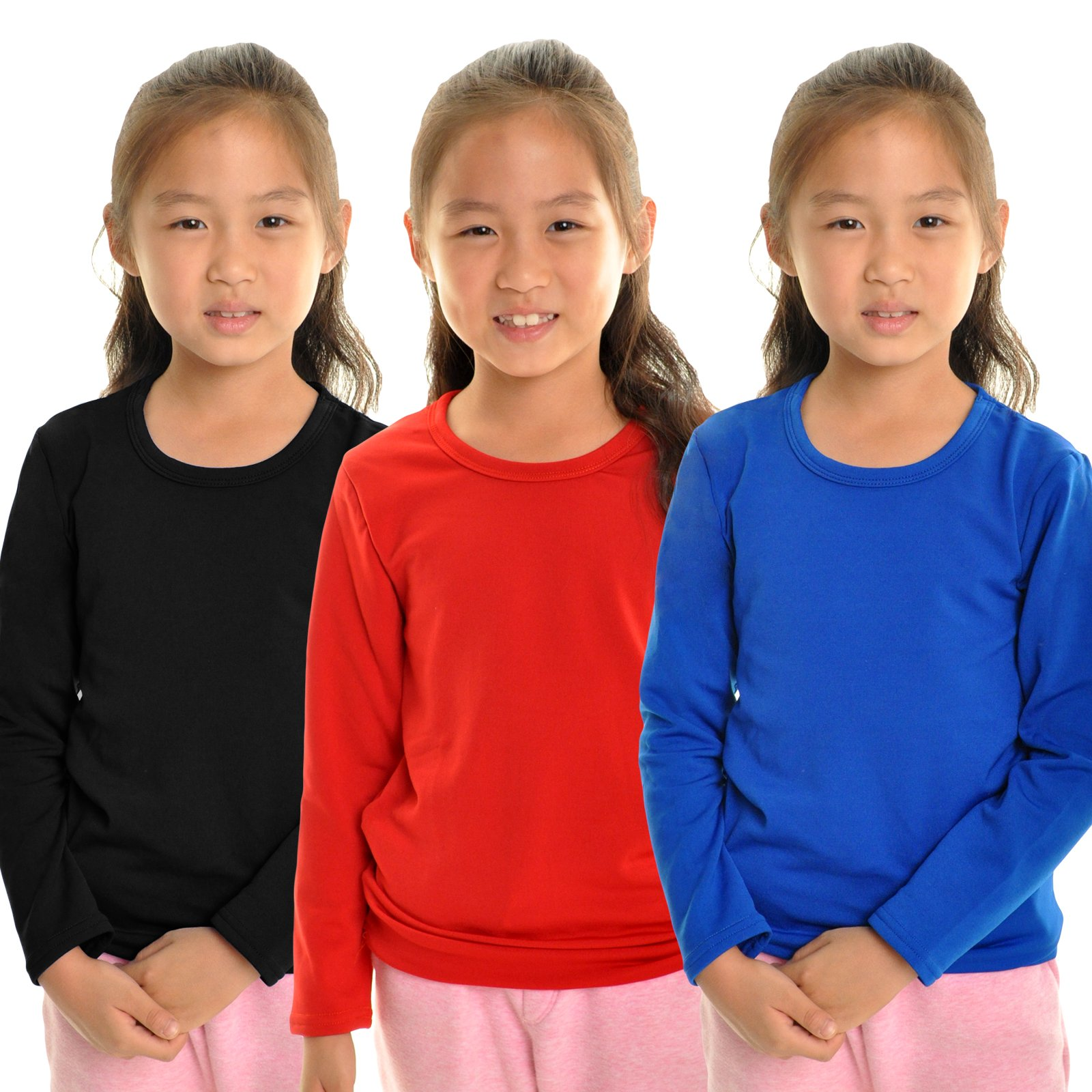 Angelina Girl's Fleece Lined Crew-Neck Long Sleeves Thermal Top, 7914_M by Angelina