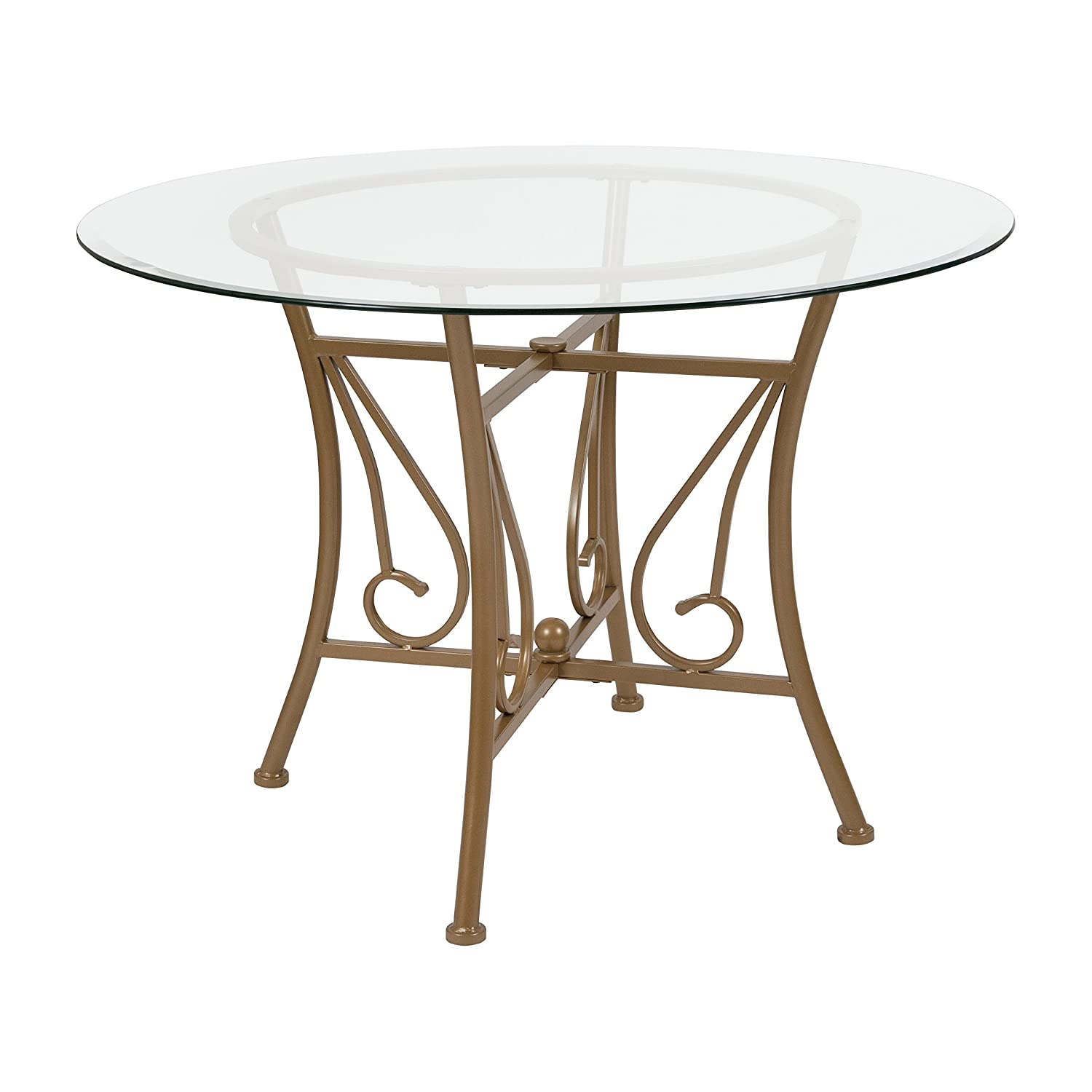 Amazon Com Flash Furniture Princeton 42 Round Glass Dining Table