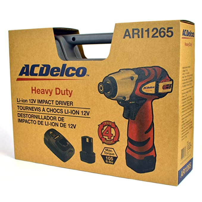 ACDelco ARI1265 Li-ion 12V Impact Driver (1265 in-lbs), 2 battery included