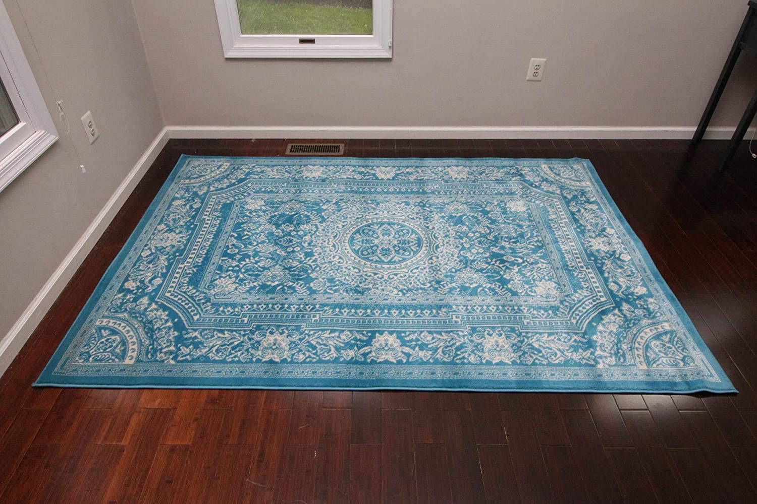 Feraghan New City Traditional French Floral Wool Persian Area Rug 8 X 10 Light Blue Furniture Decor