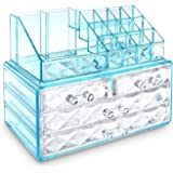 Ikee Design Jewelry and Cosmetic Storage Makeup Organizer Two Pieces Set, Blue Diamond Pattern