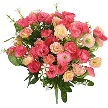 Soledi 2 Bunch 25 Stem Artificial Flower Dianthus Caryophyllus Carnation Fake  Silk Flower Plastic Flower