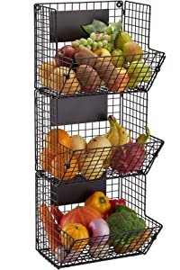 Wall Mounted Wire Basket Hanging Fruit Basket, 3 Tier Kitchen Storage Bins Fruit Vegetable and Pantry Organizier Stand, Produce Rack, Black,