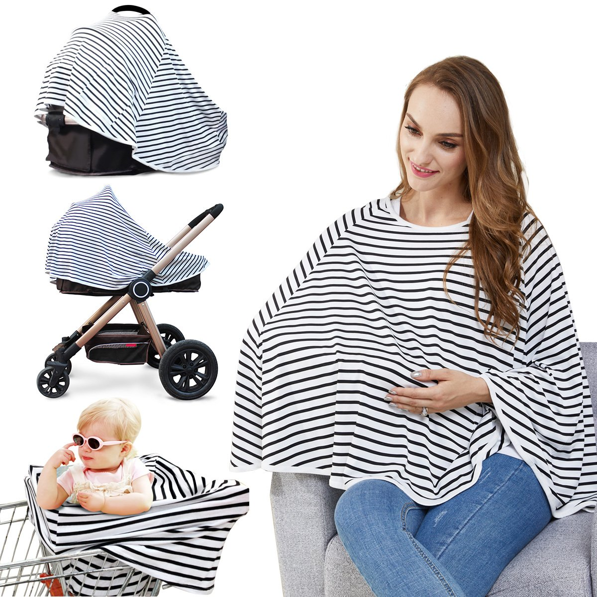 Baby Nursing Cover & Nursing Poncho - Multi Use Cover for Baby Car Seat Canopy, Shopping Cart Cover, Stroller Cover, 360° Full Privacy Breastfeeding Protection-Baby Gift for Boy&Girl (Black-White)