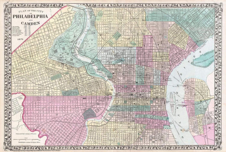 photograph about Printable Maps of Philadelphia titled : Historic 1876 Mitc Map of Philadelphia
