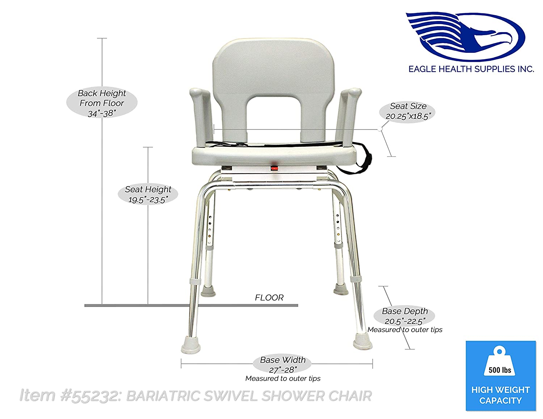 Amazon.com: Eagle Health Supplies - Bariatric Swivel Shower Chair ...