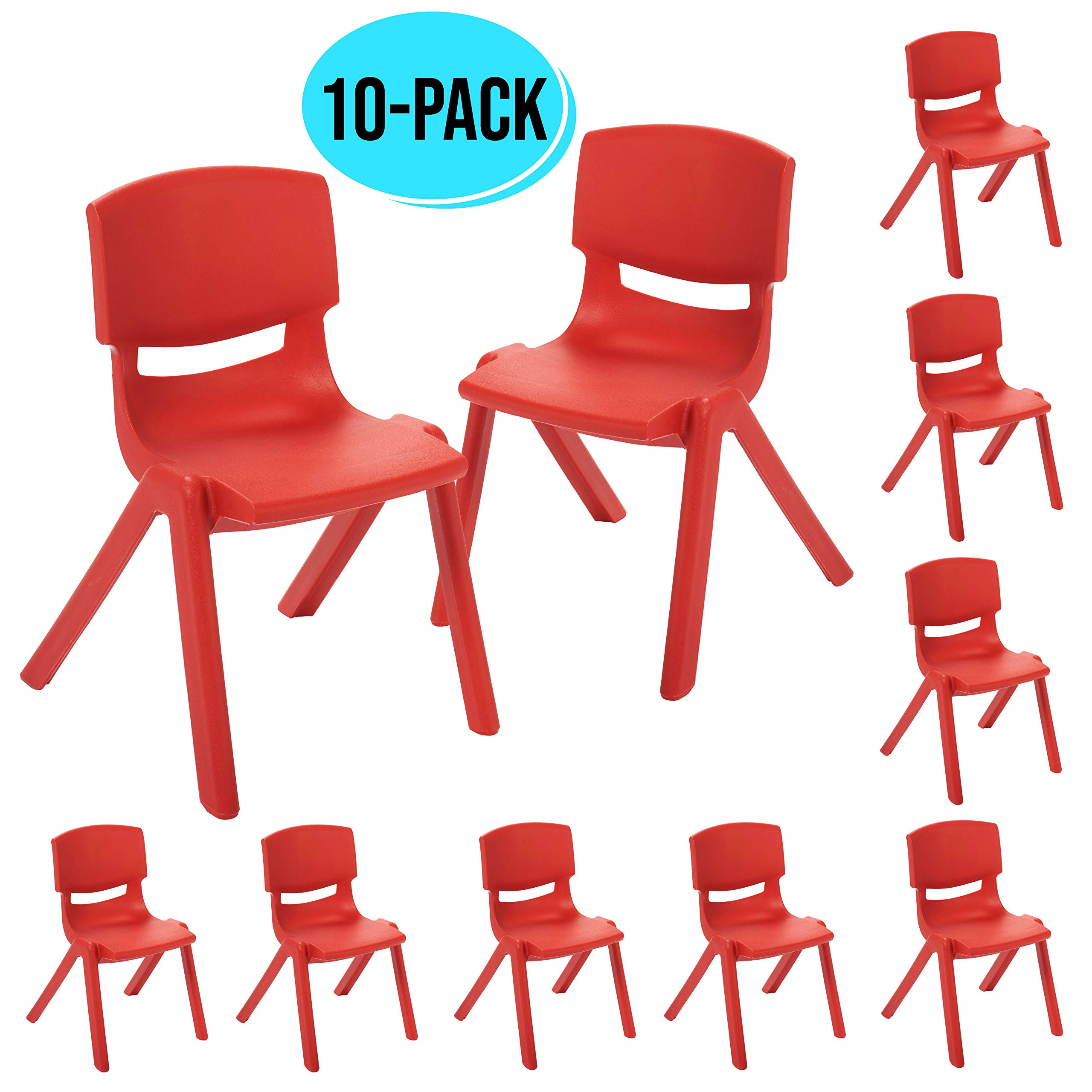 ECR4Kids 12 inch Plastic Stackable Classroom Chairs, Indoor/Outdoor Resin Stack Chairs for Kids, Red (10-Pack)