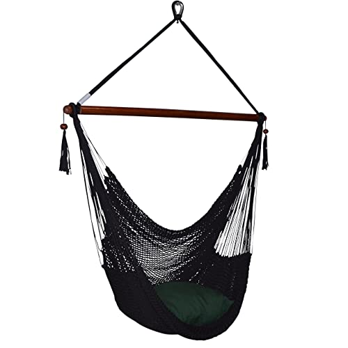 Large Caribbean Hammock Chair – 48 Inch – Polyester – Hanging Chair – Black