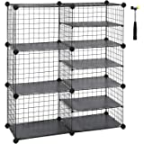 "SONGMICS Cube Storage Unit, Interlocking Metal Wire Organizer with Divider Design, Modular Cabinet, Bookcase for Closet Bedroom Kid's Room, Includes Rubber Mallet 34.3""L x 12.6""W x 37.8"" Black ULPI36H"