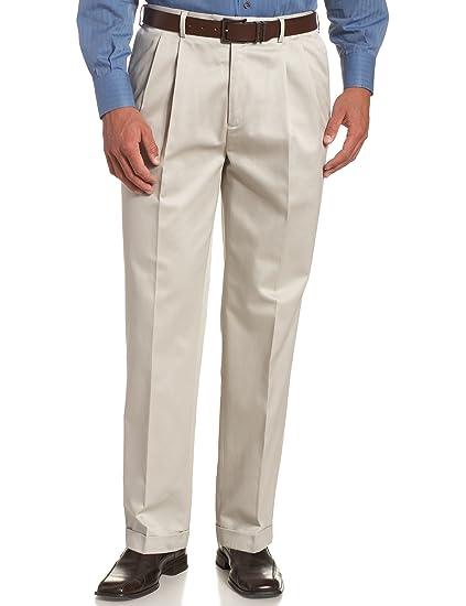 73466674 Savane Men's No-Iron Comfort-Waist Pleat-Front Luster Twill Pant
