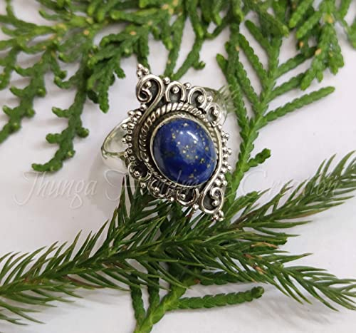 Natural Lapis Lazuli Ring-925 Silver Ring-September Birthstone Ring-Sterling Silver Ring-Gift For Her-Stacking Ring-Unique Jewelry-Handmade