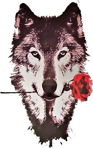 Brillantes y lentejuelas, diseño de perro lobo grande tatuajes ...