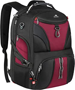 Matein Laptop Backpack for Women, Large Travel Laptop Backpack for Grils Men with USB Port, Anti Theft TSA Friendly Water Resistant Big College Bag Business Computer Backpacks Fit 17 Inch Laptops, Red