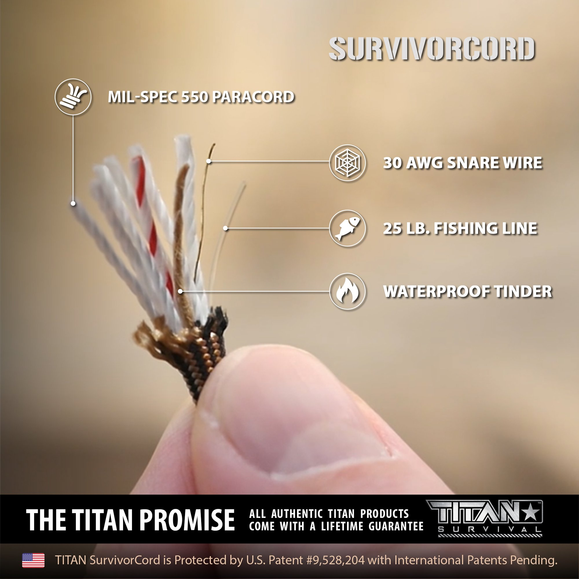 TITAN SurvivorCord | BRONZE | 100 Foot Hank | Patented Military Type III 550 Paracord / Parachute Cord (3/16'' Diameter) with Integrated Fishing Line, Fire-Starter, and Snare Wire by Titan Paracord (Image #2)