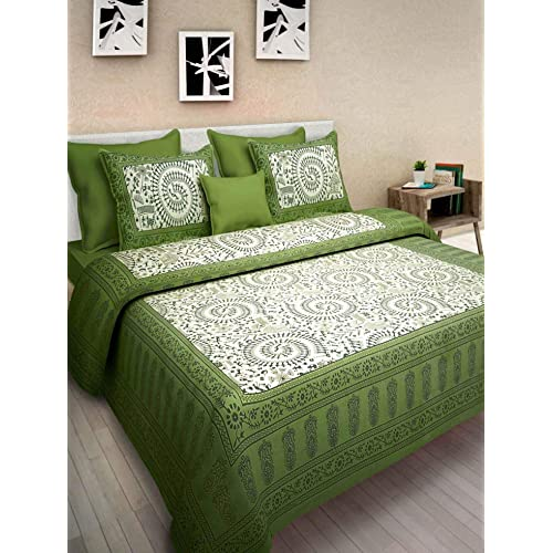 Jaipur To Home Cotton Comfort Rajasthani Jaipuri Traditional King Size 1 Double  Bedsheets With 2 Pillow