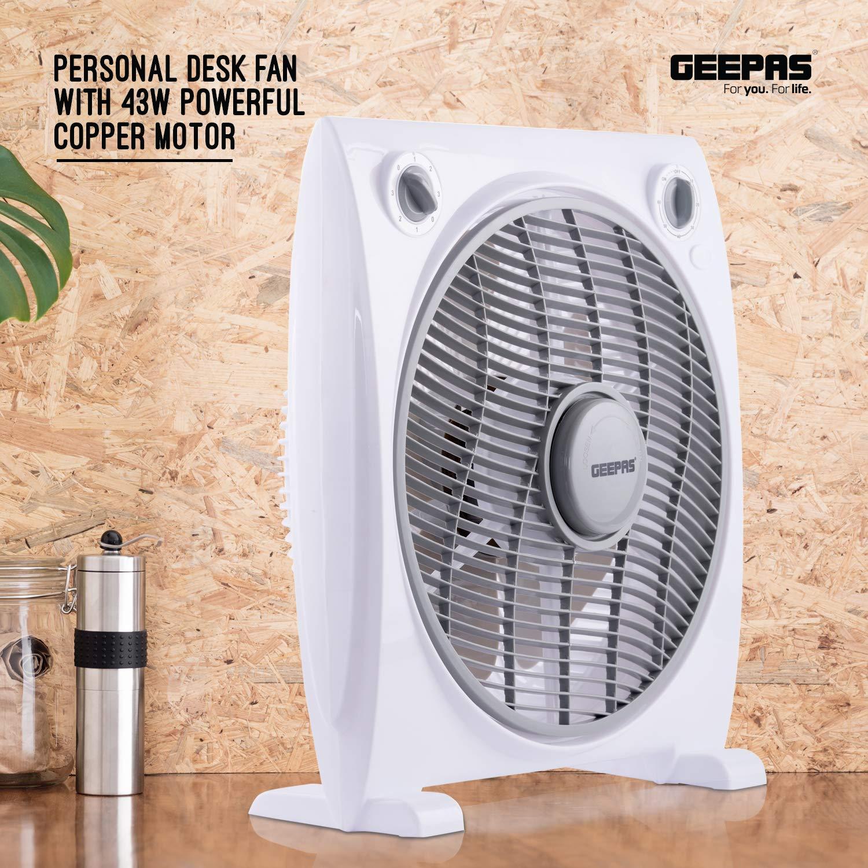 3 Speed 2 Year Warranty Personal Box Fan with 43W Powerful Copper Motor Fan Guard with 60 Minutes Timer Grey Table Fan for Office Geepas 12/'/' Desk Fan Home