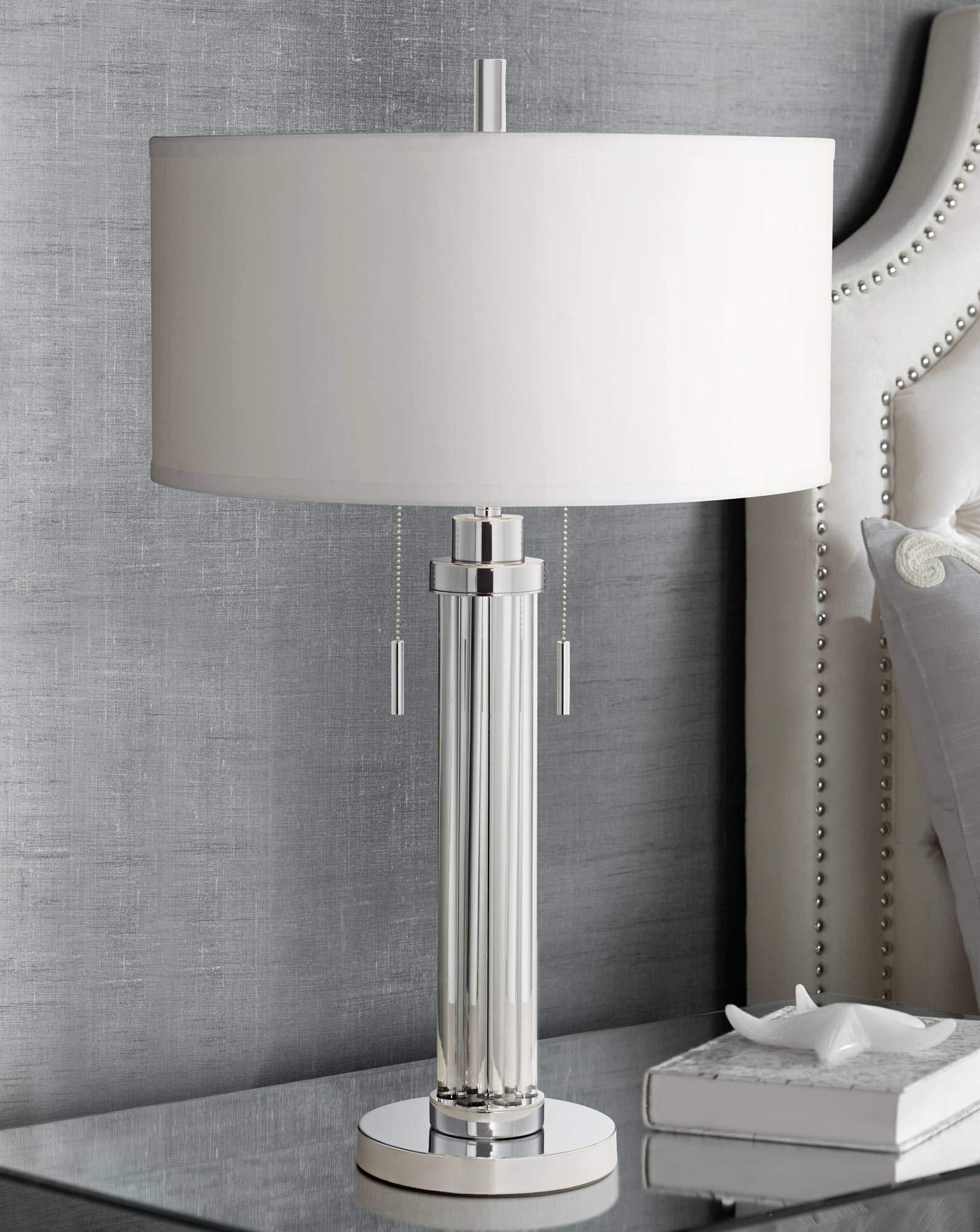 Pleasant Cadence Modern Table Lamp Chrome Silver Glass Column White Download Free Architecture Designs Grimeyleaguecom