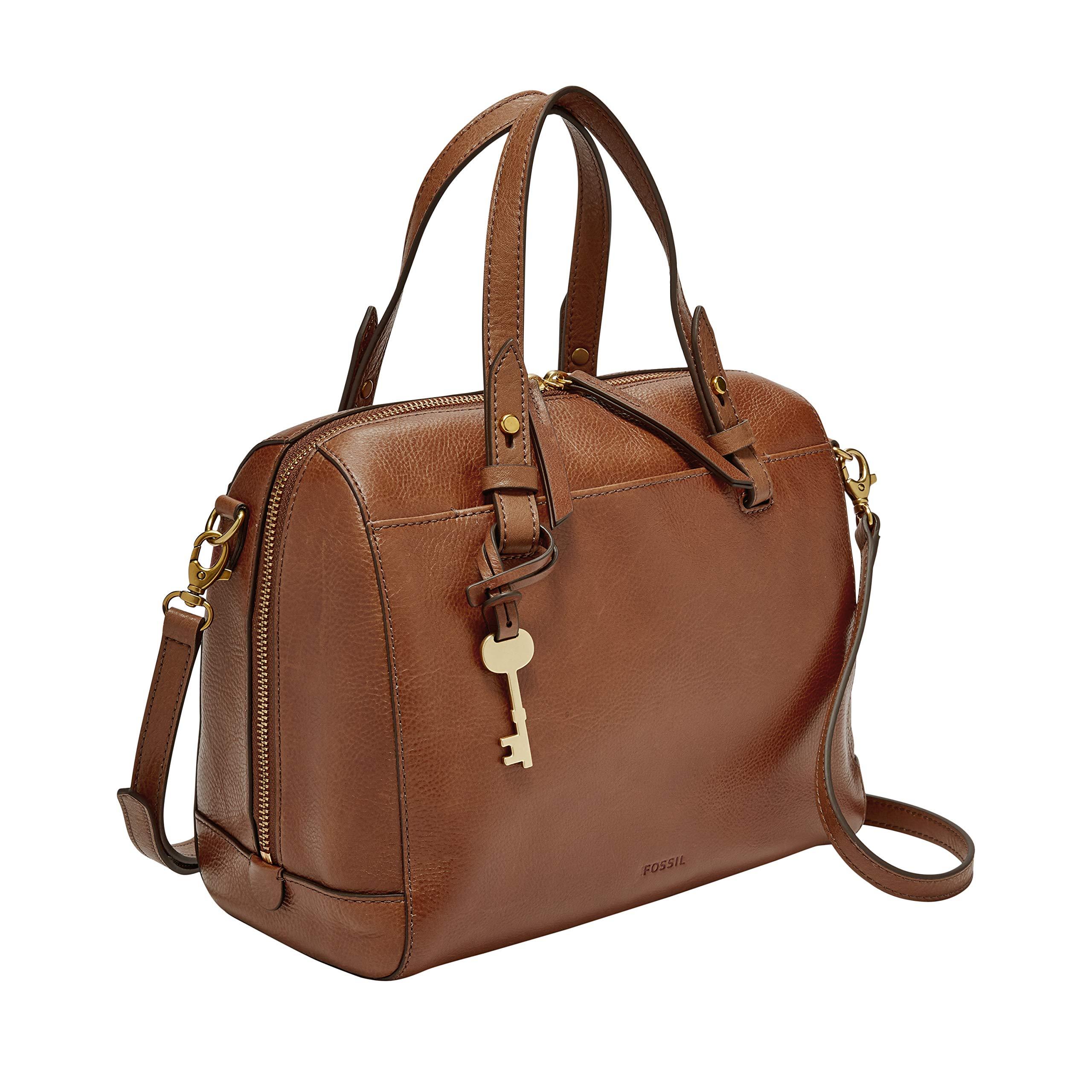 ویکالا · خرید  اصل اورجینال · خرید از آمازون · Fossil Rachel Satchel Handbag, medium brown wekala · ویکالا