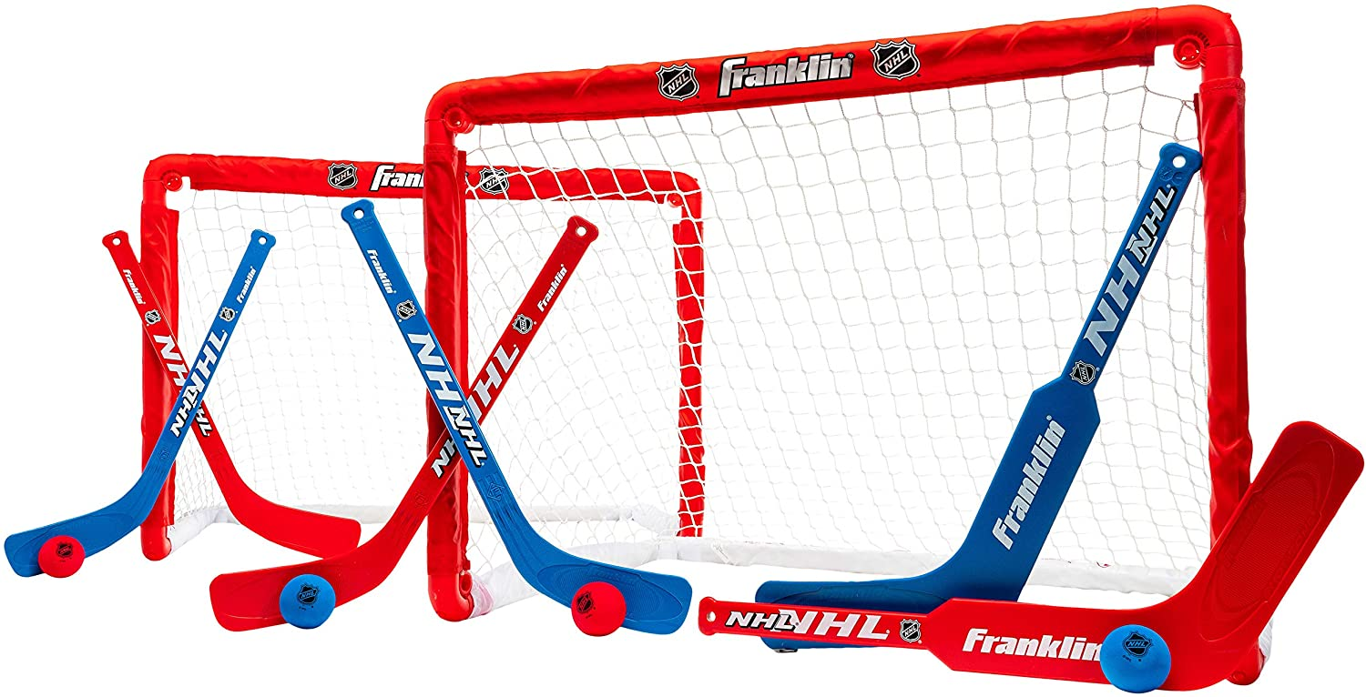 Franklin Sports Knee Hockey Goal Set of 2 – Play Mini Hockey Anytime, Anywhere – Player and Goalie Sticks Included – Fully Collapsible – Great for Kids : Hockey Nets : Sports & Outdoors