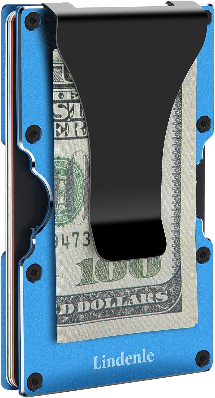 Lindenle Womens Minimalist Slim Wallet RFID Blocking Aluminum Card Holder Money Clip Dark Green Gray