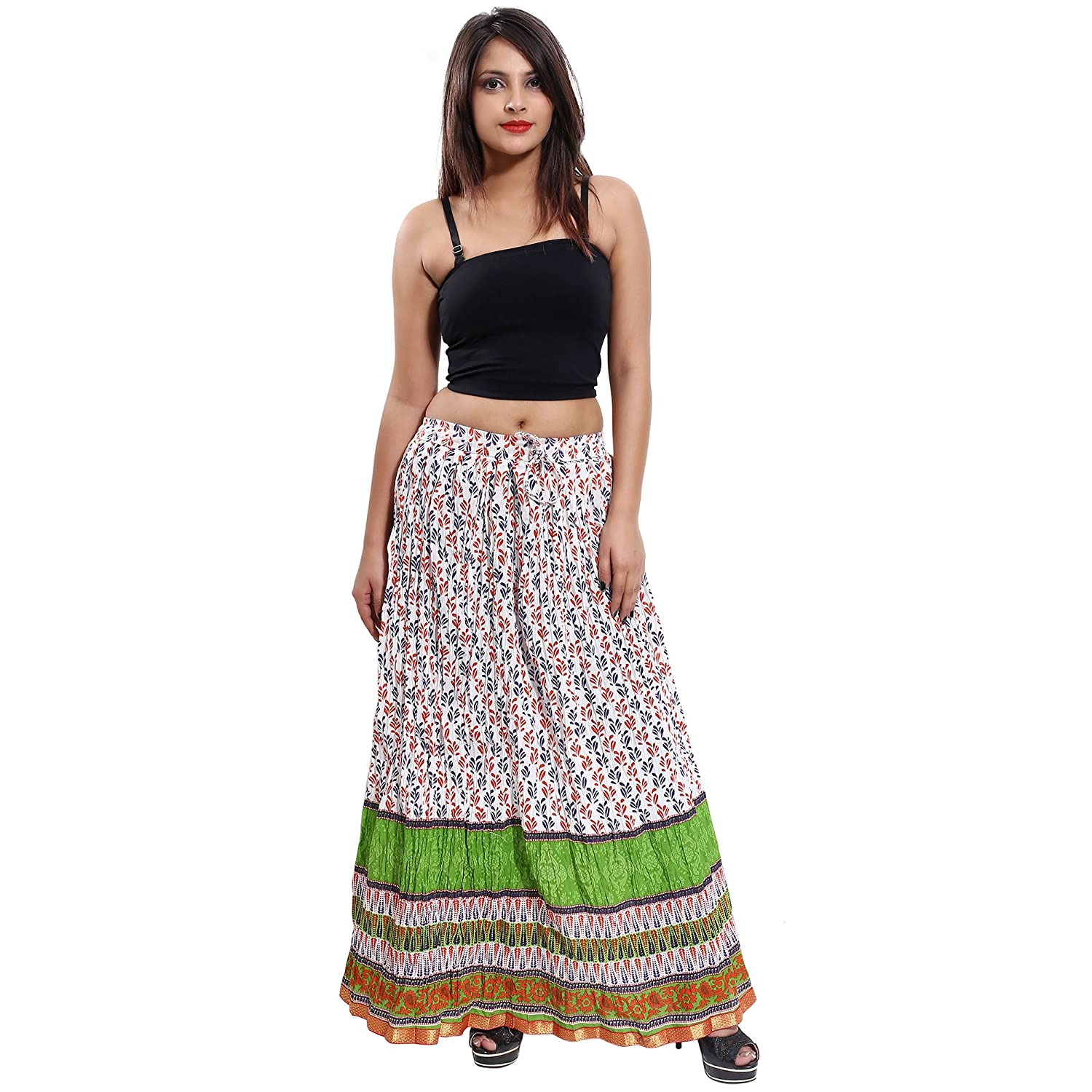 3cb7d3176 Indian 100% Cotton Gaurangi Women's Cotton Designer Floral Printed Long  Skirt at Amazon Women's Clothing store: