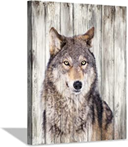 Hardy Gallery Gray Wolf Wall Art Print: Wild Animal Artwork Painting Picture on Canvas for Living Room Decor (24'' x 18'')