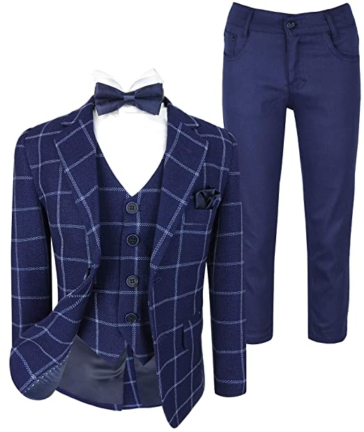 Flamingo Boys Italian Design Slim Fit Check Suits Wedding Formal Outfit