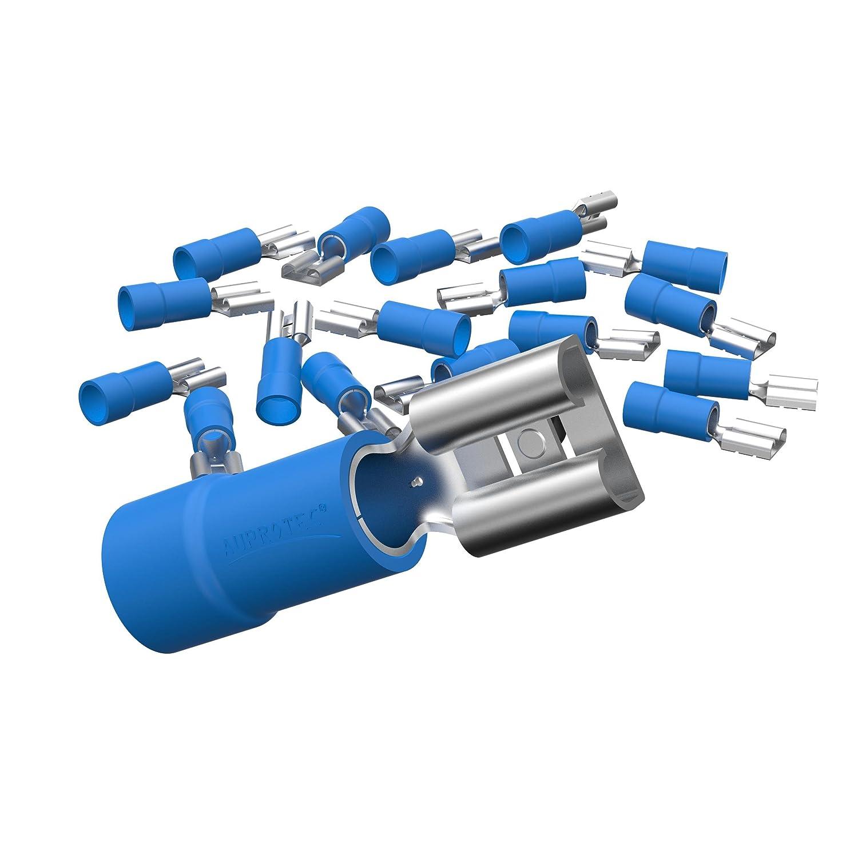 AUPROTEC 100x Connettore Femmina 4, 0 - 6, 0 mm² giallo 6, 3 mm FDD Capicorda Preisolati PVC Connettori Crimp Ottone Stagnato Terminali per Cavi Fili Elettrici 0 mm² giallo 6 AU-FDD