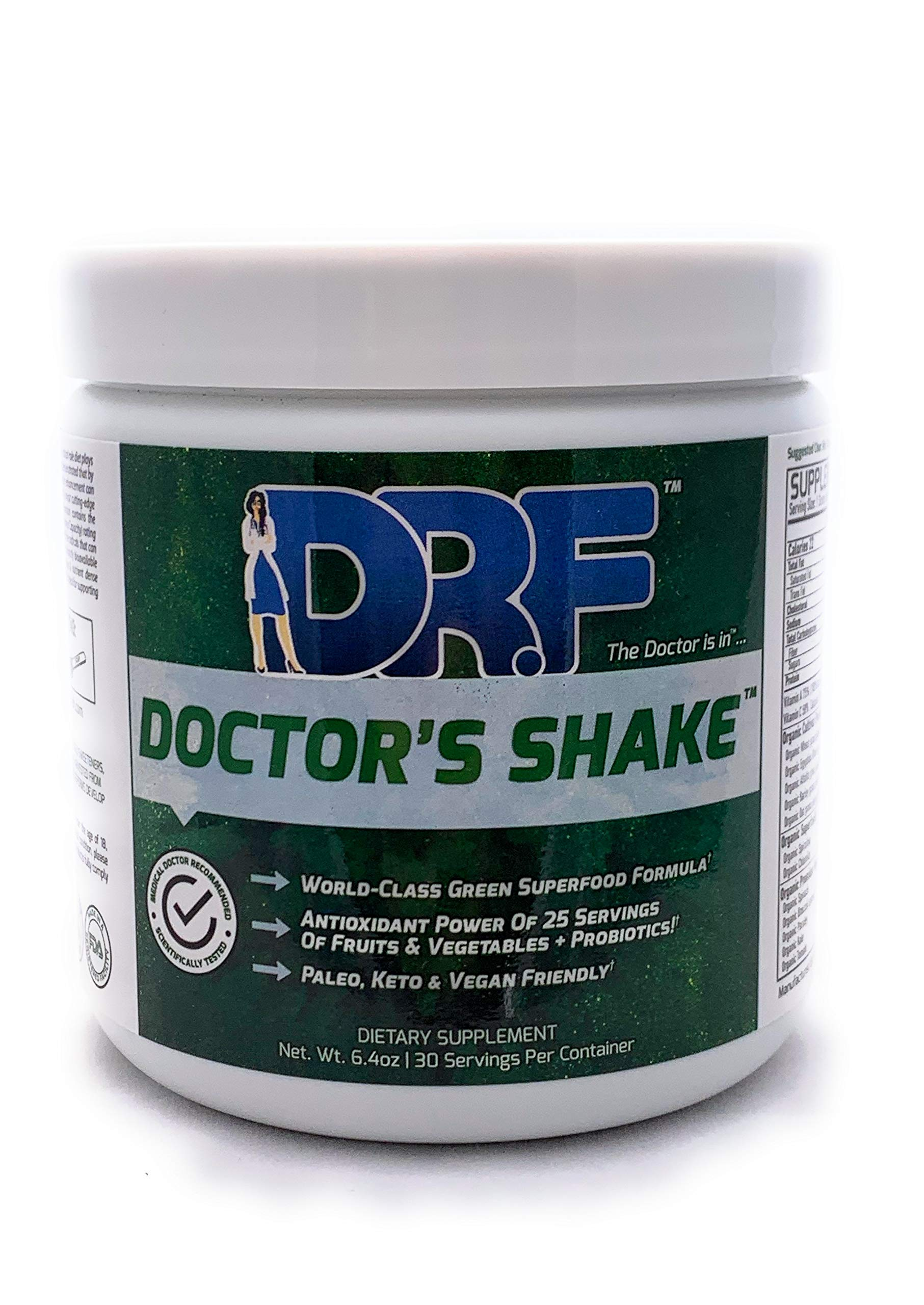 Organic Doctor's Shake by Dr. Farrah World Renown Medical Doctor   World Class Organic Green Superfood Formula   Antioxidant Power of 25 Servings of Fruits and Vegetables & Probiotics