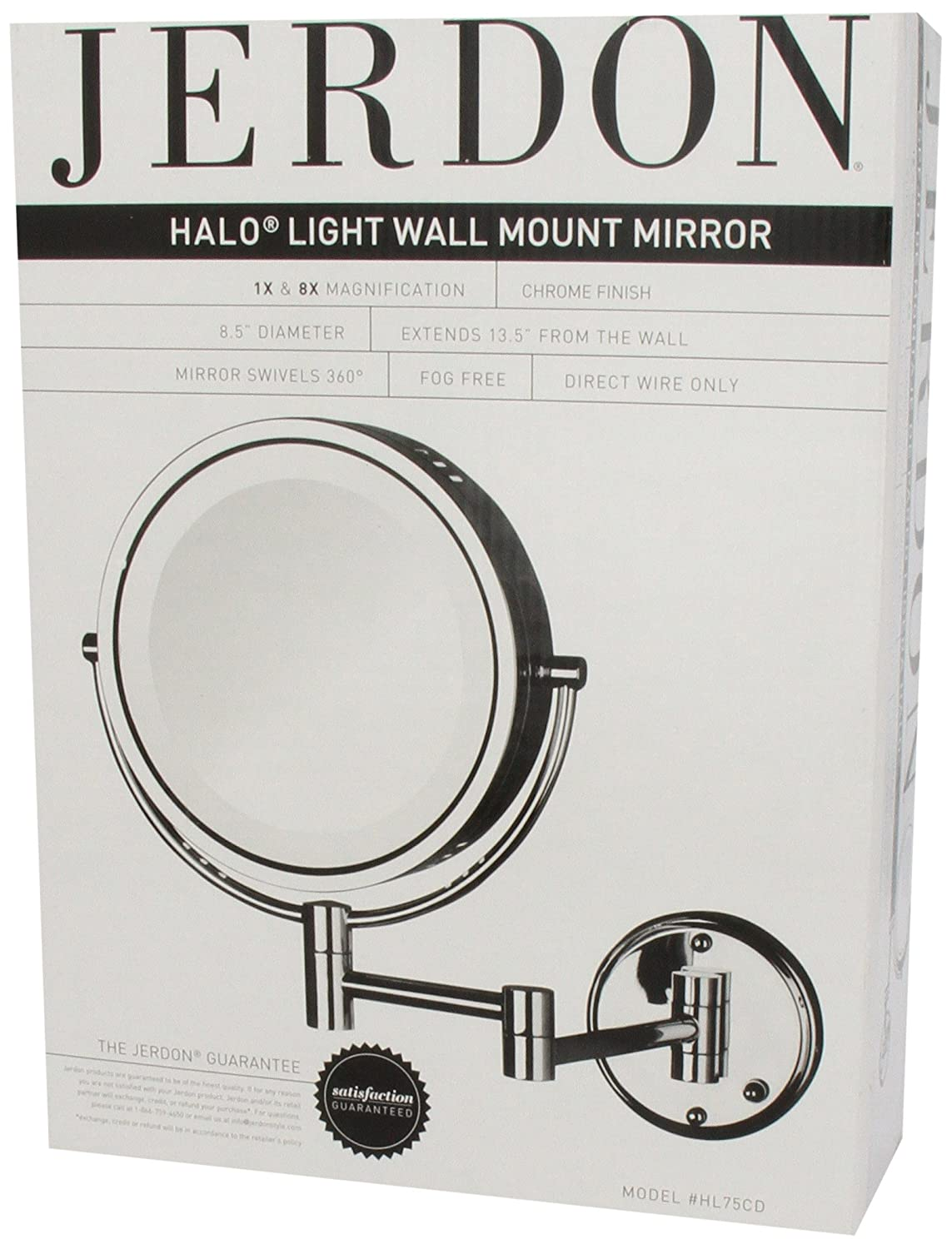 Amazon.com : Jerdon HL75CD 8.5-Inch Lighted Direct Wire Wall Mount Makeup  Mirror with 8x Magnification, Chrome Finish : Personal Makeup Mirrors :  Beauty