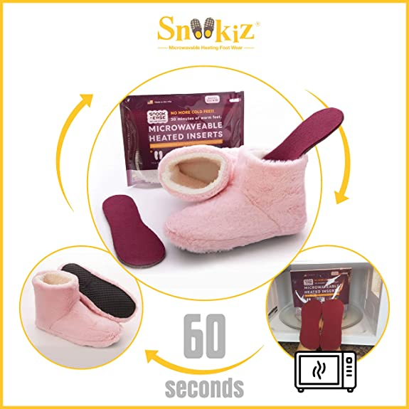 Snookiz Microwaveable Heated Booties Slippers for Men-Women. Cold Feet Solution