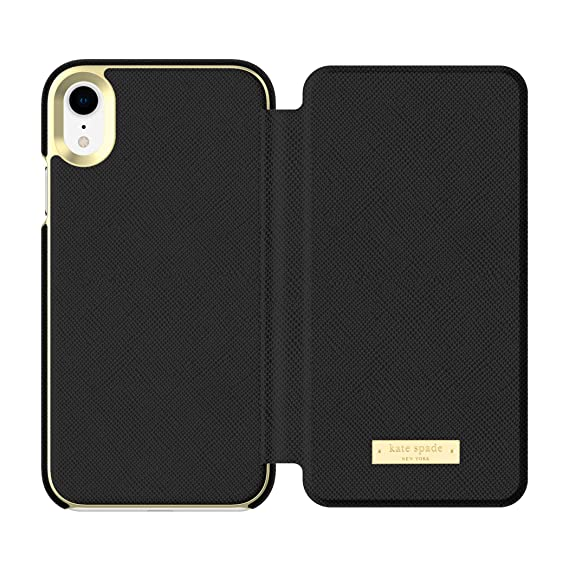 info for 7ae7a b8e1f Kate Spade New York Phone Case | for Apple iPhone XR | Protective Phone  Cases with Folio Design and Drop Protection - Saffiano Black/Gold Logo Plate