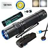 Olight M2R Warrior 1500 Lumen Cree XHP35 HD LED USB Magnetic Rechargeable Dual switches Tactical Flashlight,with Magnetic Charging Cable,Customized 18650 Battery,and SKYBEN Accessory
