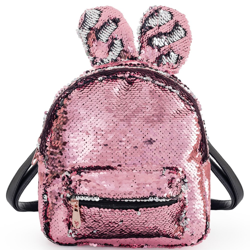 989fda074c22 Women Girls Fashion Cute Rabbit Ears Backpack Sequins Shoulder Bag  Schoolbag Travel Daypack (Pink & Silver)