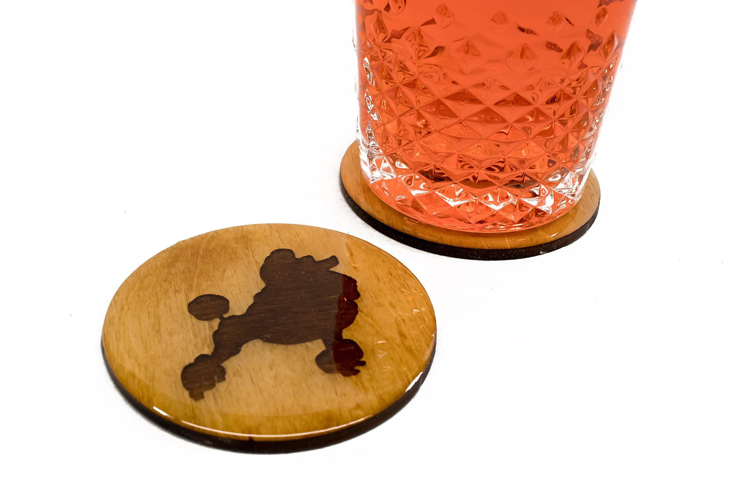 Premium Poodle Coasters - 4 Fun Handmade Engraved 3.5'' Round Wooden Natural Home Animal Decoration