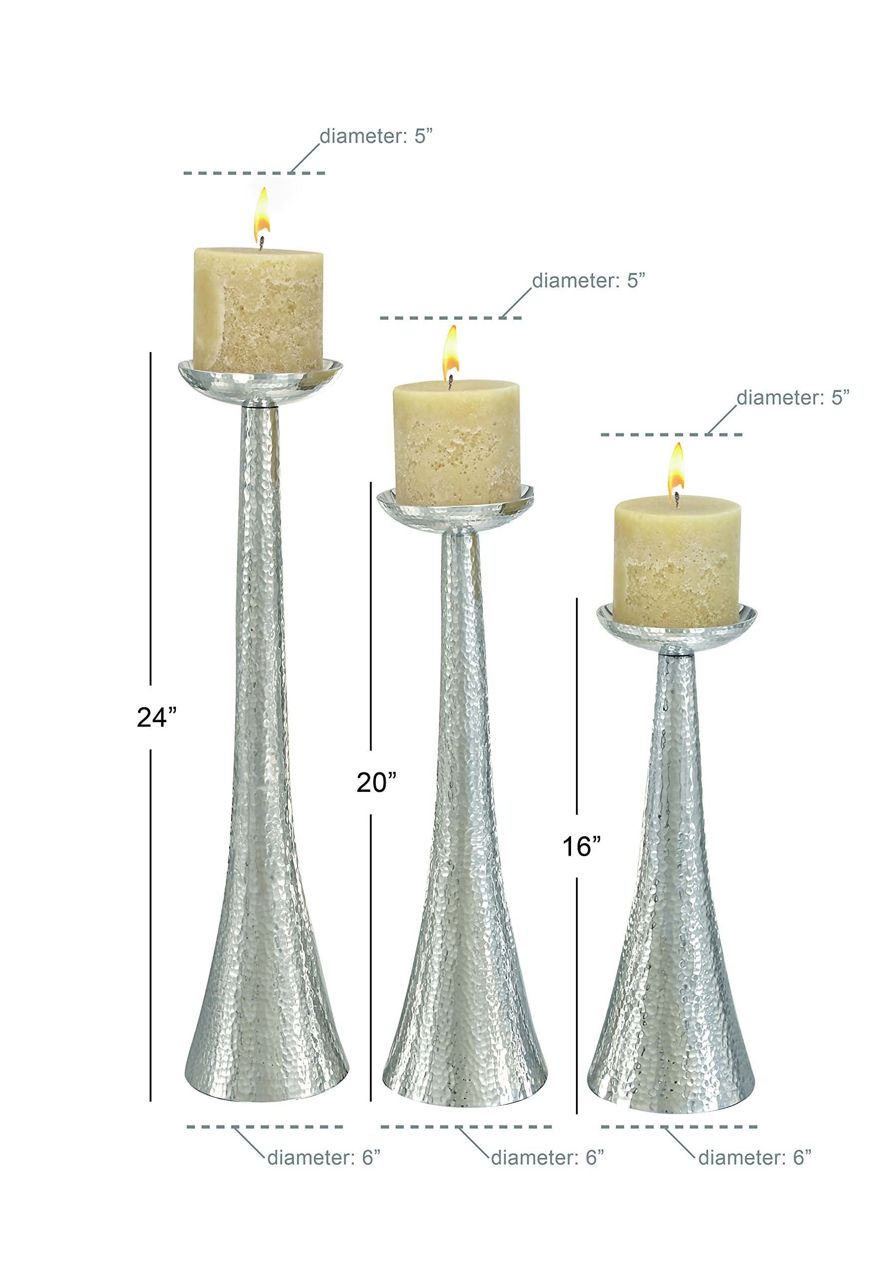 Deco 79 Aluminium Candle Holder, 23 by 20 by 16-Inch, Set of 3 by Deco 79 (Image #3)