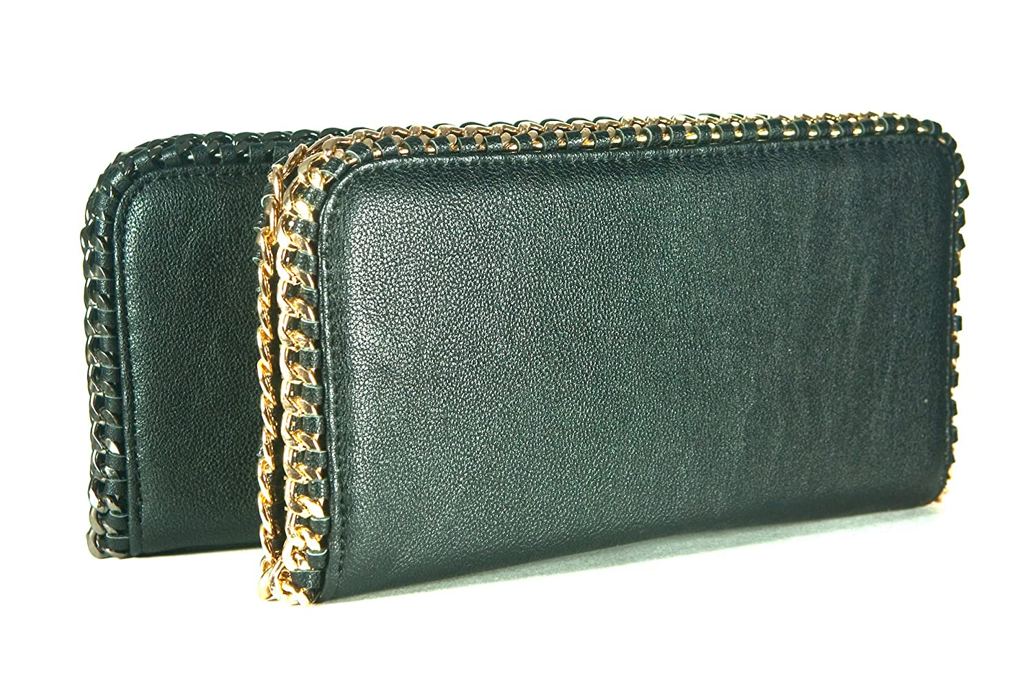 BLACK PLEATHER CLUTCH/WALLET WITH GOLD CHAIN ACCENT OR BLACK CHAIN ACCENT