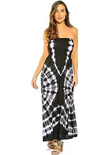 e8b3792239374 8511 - Smocked Chest Strapless Tube Long Maxi Beach Cover-up Dress ...