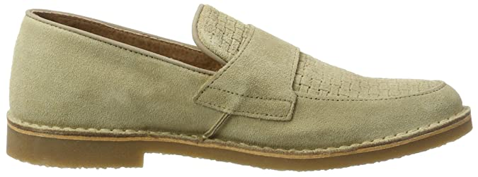 Mens Shhroyce New Light Suede Penny Loafers, Beige Selected