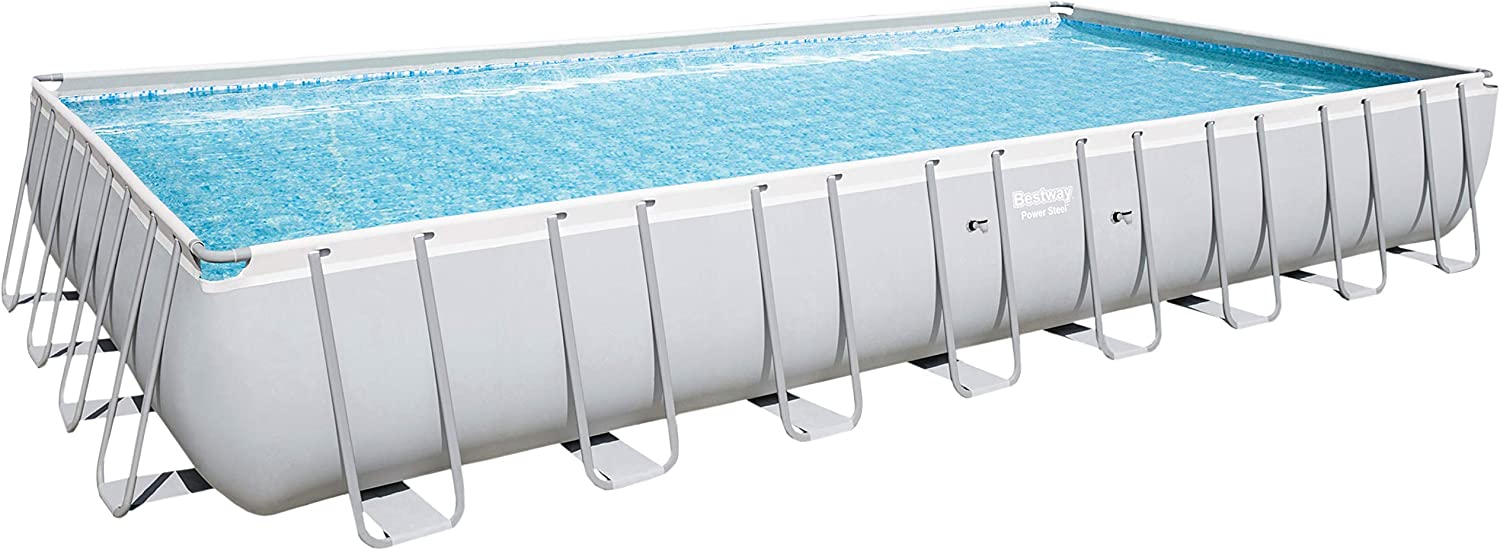 Bestway 56936 Power Steel - Piscina para Exteriores, Estructura y Lino, Rectangular, 956 x 488 x 132 cm, Color Gris