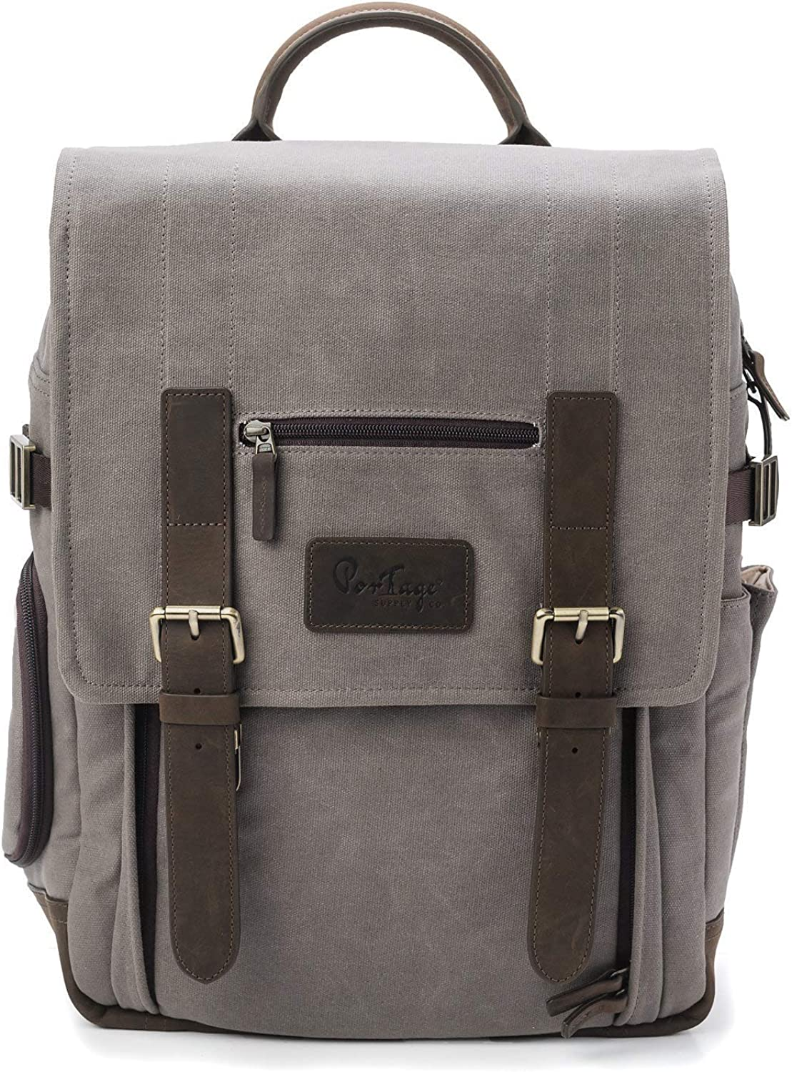 The Kenora Backpack by Portage CLEARANCE PRICE! GEN4 W/SIDE ACCESS! - Camera, Travel, Gear, Laptop Bag - Genuine Leather and Waxed Canvas