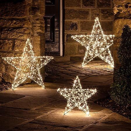 Decorazioni Luminose Natalizie.Lights4fun Stella Luminosa Grande Con Luci Led Bianco Caldo Per Uso In Interni Ed Esterni A Natale Amazon It Casa E Cucina