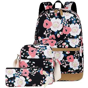 e5a5b4cccfa7 CAMTOP Teens Backpack for School Girls School Bookbag Set Travel Daypack  (Black-Flower)