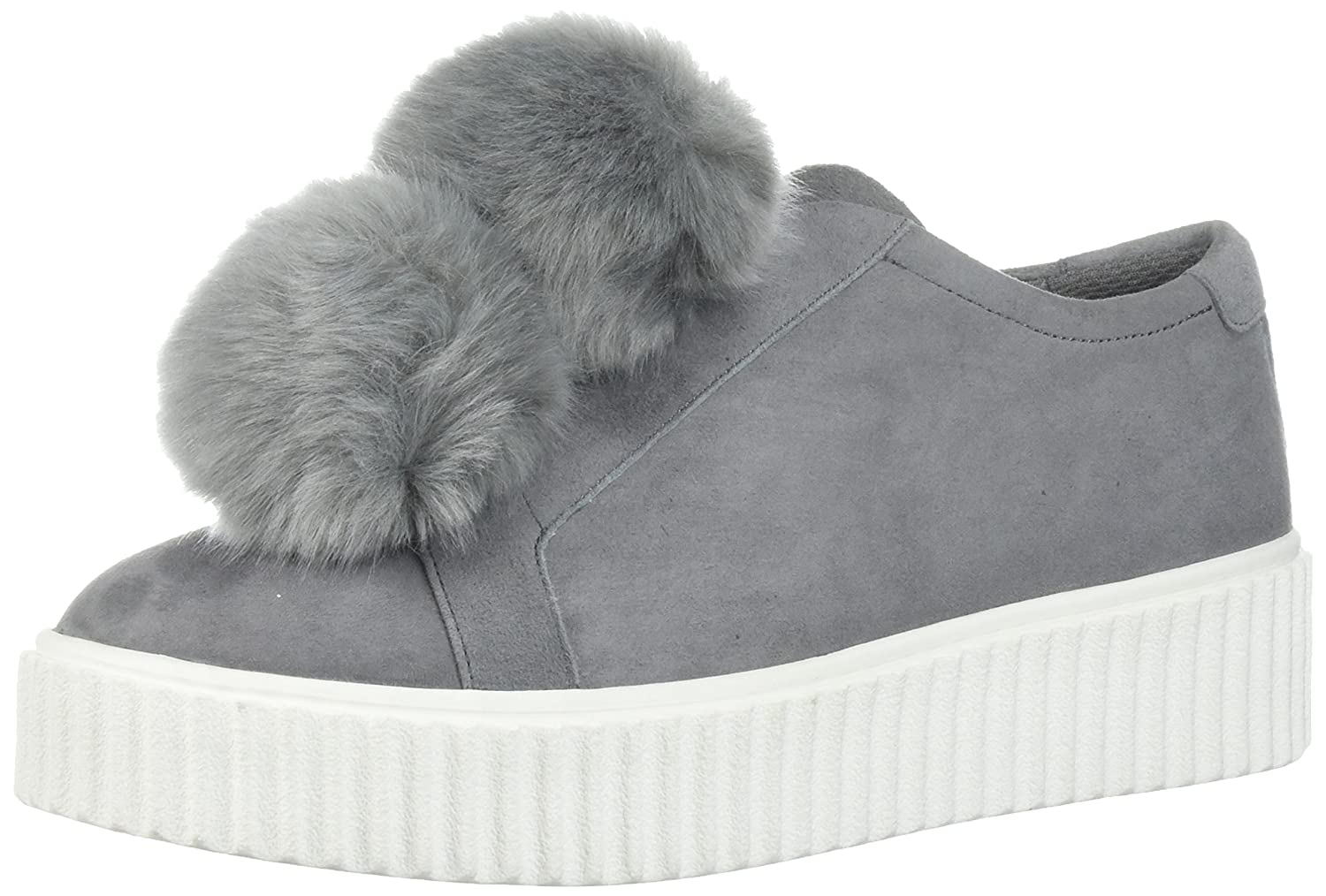 The Fix Women's Talon Slip-on Poms Fashion Sneaker B072Y3W76P 7 B(M) US|Elephant Grey Suede