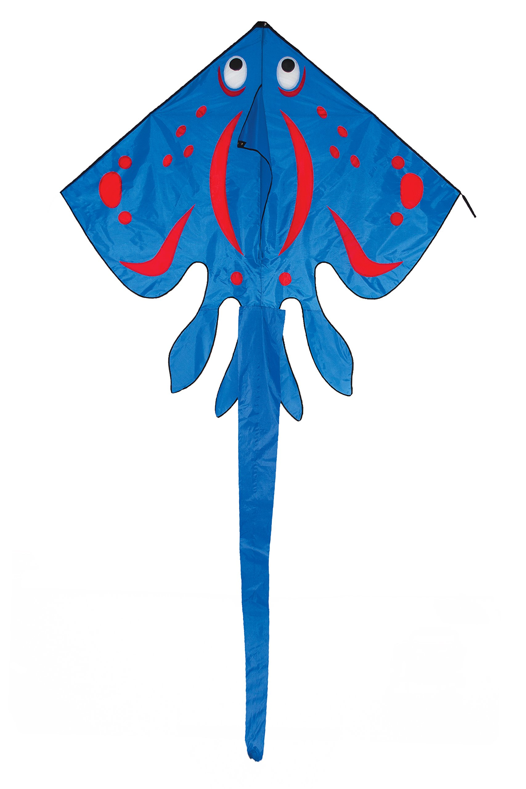 In the Breeze Blue Stingray Kite - Large Single Line Kite - Ripstop Fabric - Kite Line and Bag Included