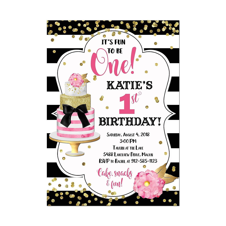 Amazon Com Modern Cake 1st Birthday Invitation In Black