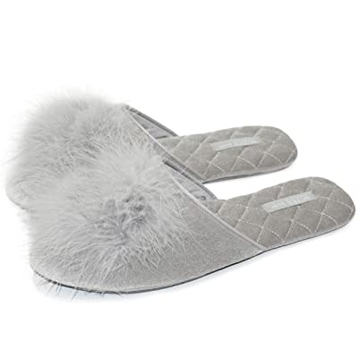 BCTEX COLL Women's Cozy Velvet Memory Foam House Slippers with Cute Pom-pom Feather, Mule Shoes for Ladies Non-Slip Soft Rubber Sole for Indoor/Outdoor | Slippers