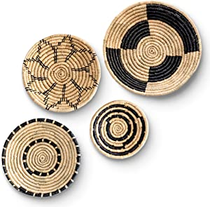 Large Boho Woven Wall Basket Decor - Set of Four – Handmade Wall Art made from Natural Seagrass - Ready to Hang
