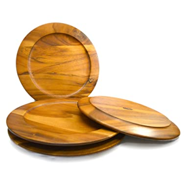 RoRo Large Classic Wood Charger in Oak Stain, 14 Inch