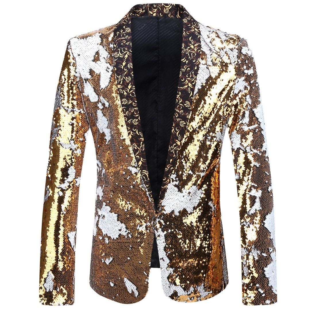 PYJTRL Men Stylish Two Color Conversion Shiny Sequins Blazer Suit Jacket (Gold + White, S/38R)